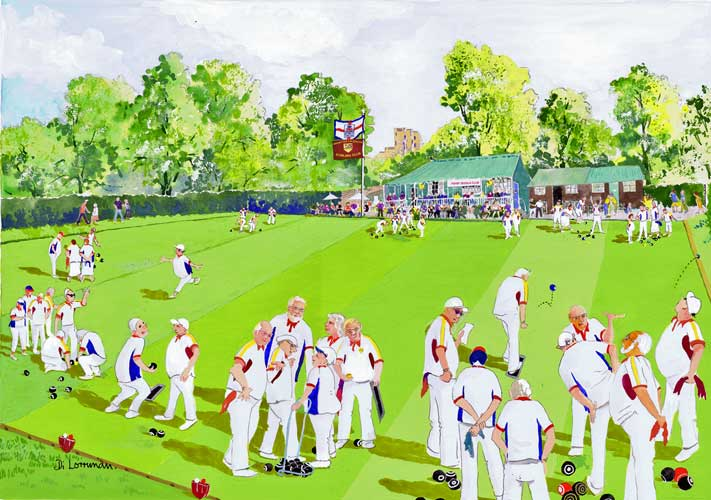 All England Bowls. Illustration by Di Lorriman